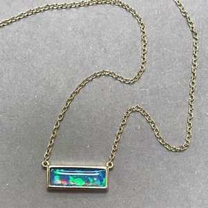 Blue Opal Rectangle Dainty Necklace,NWT